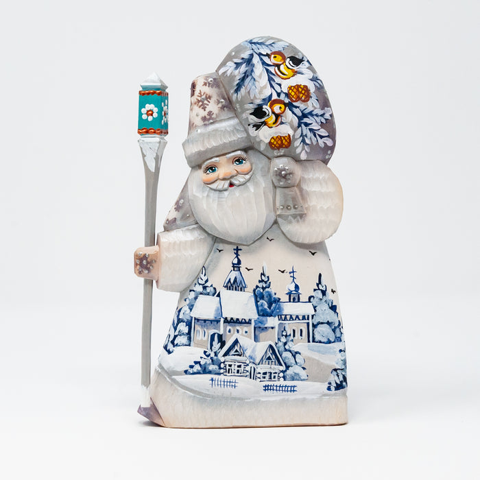 Hand-carved Grandfather Frost with Winter Country Scenes