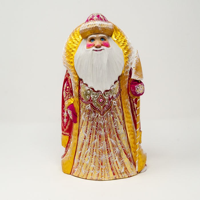 Hand-carved Gold and Red Grandfather Frost