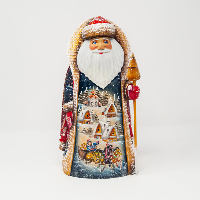 Hand-carved Grandfather Frost with a Troika and Village Scene