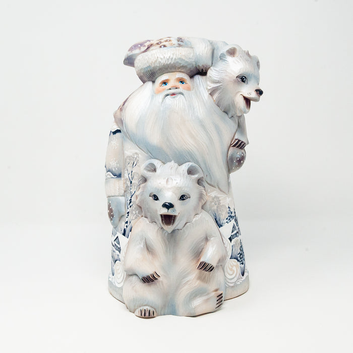 Hand-carved Grandfather Frost with two Bears