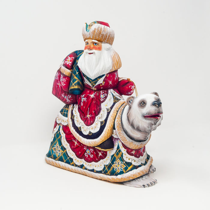 Hand-carved Grandfather Frost Riding a Polar Bear