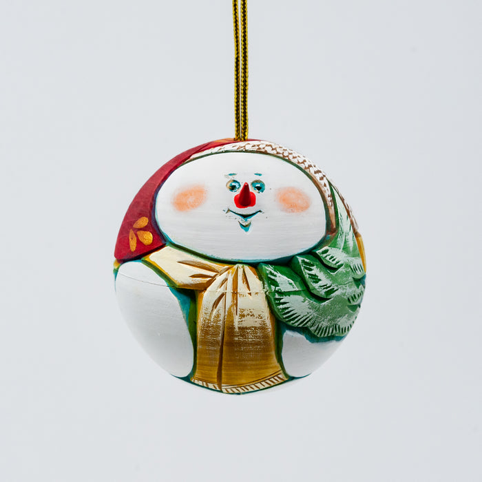Hand-carved  and Wood-burned Round Snowman Ornament