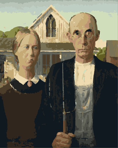 """American Gothic as 12""""x15"""" paint by number"""