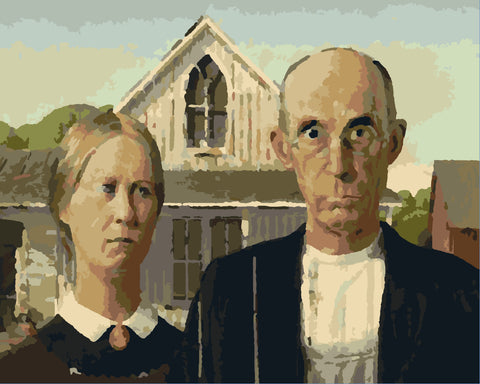 """American Gothic Paint by Number 12""""x15"""" cropped"""