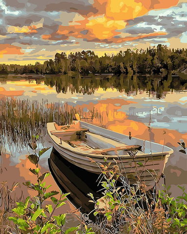 Lakeside Boat Paint by Numbers