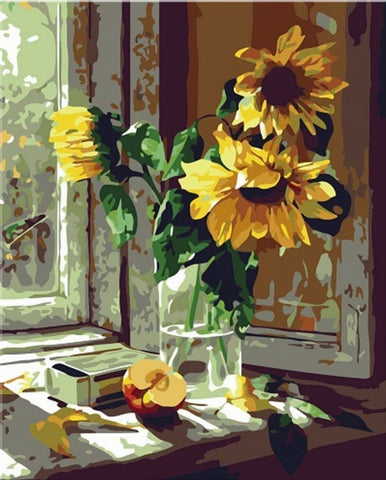 Sunflower Vase Paint by Numbers