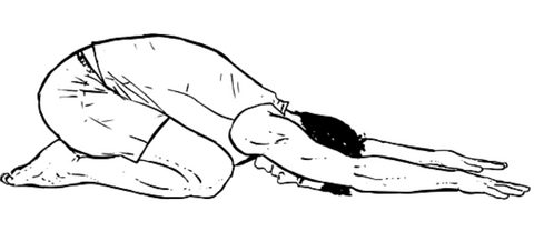 Drawing of a person in child's pose yoga position