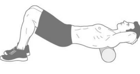Drawing of a man foam rolling his upper back