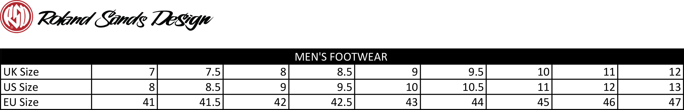 Roland Sands Design Footwear Size Chart - Salt Flats Clothing