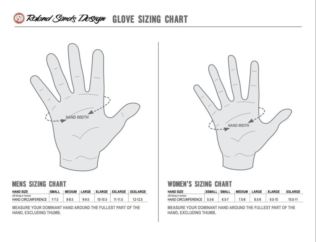 Roland Sands Design Glove Measurement Size Chart