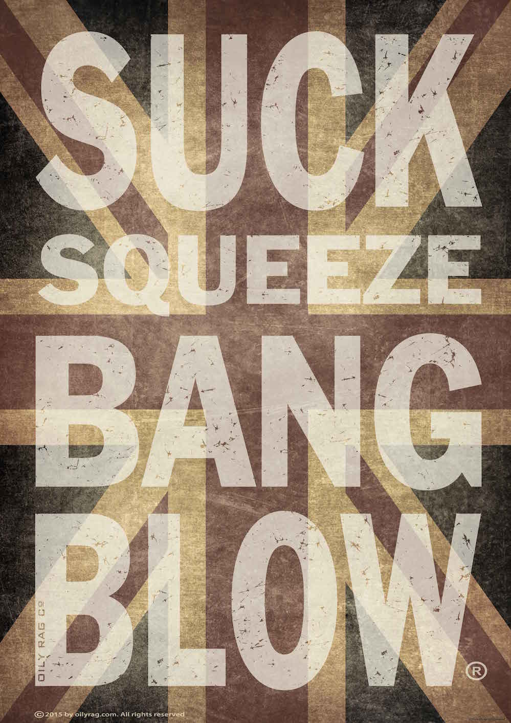 Oily Rag Clothing Suck Squeeze Bang Blow Union Jack Alloy Sign