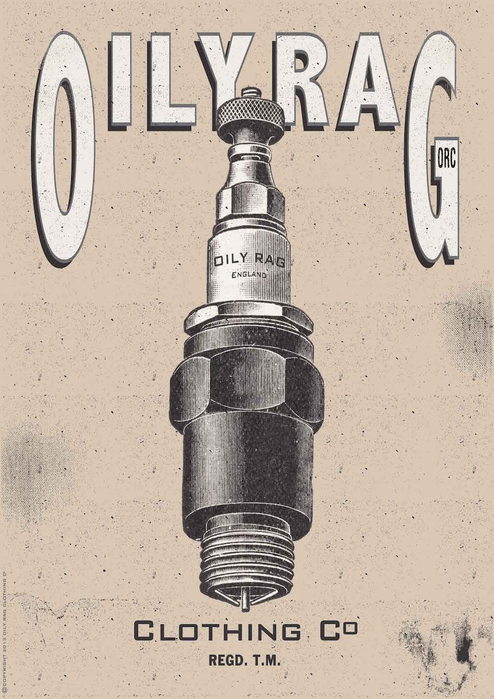 Oily Rag Clothing Spark Plug Alloy Sign