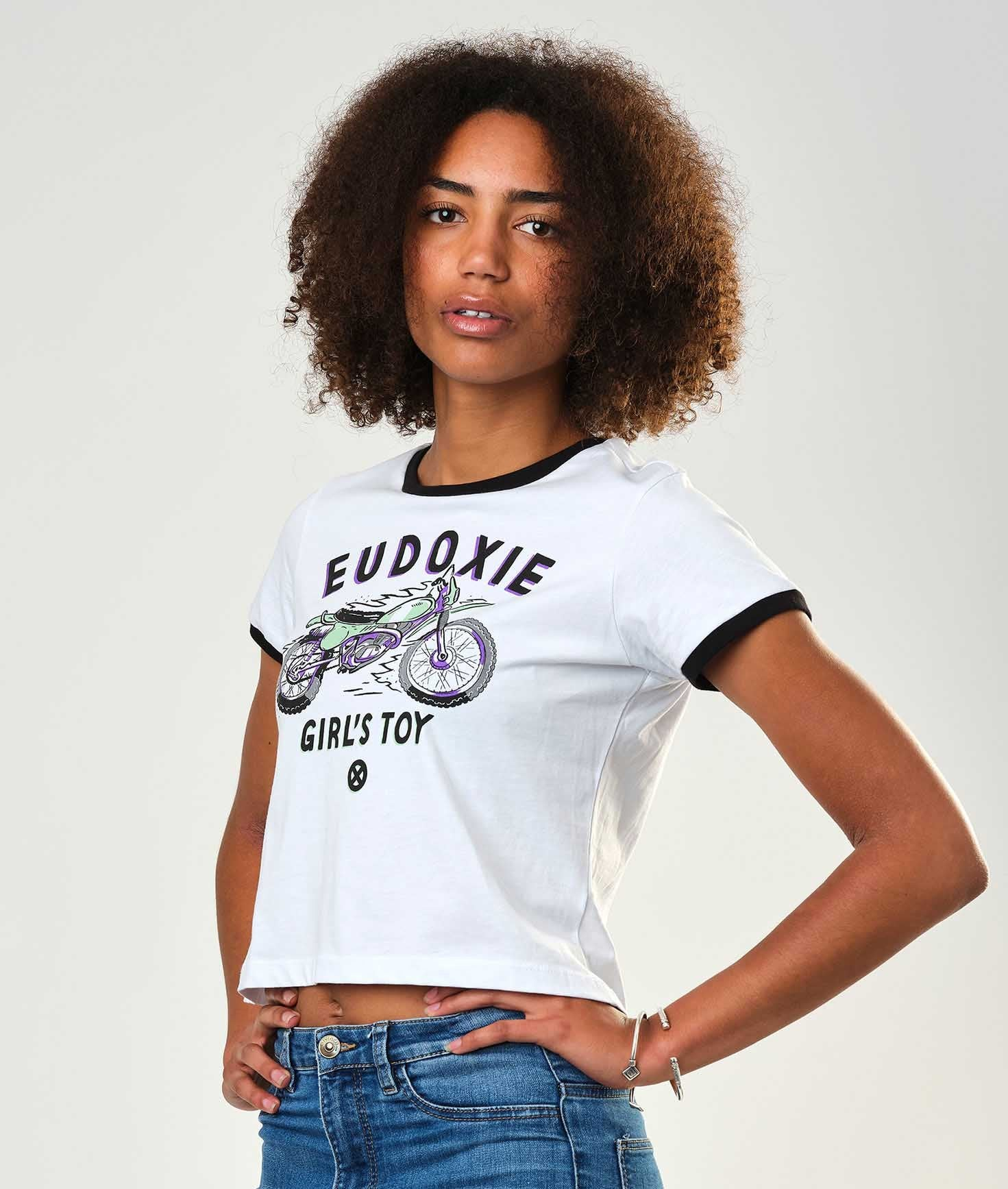 Eudoxie - Eudoxie Bianca Motorcycle Crop Top - T-Shirts - Salt Flats Clothing