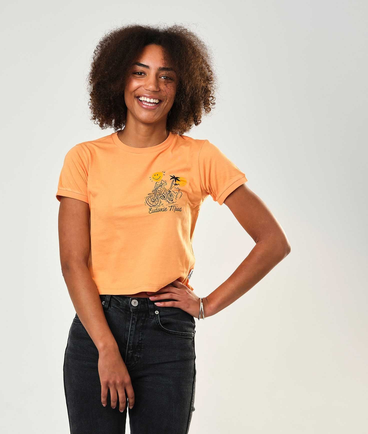 Eudoxie - Eudoxie Laurie Orange Crop Top - T-Shirts - Salt Flats Clothing