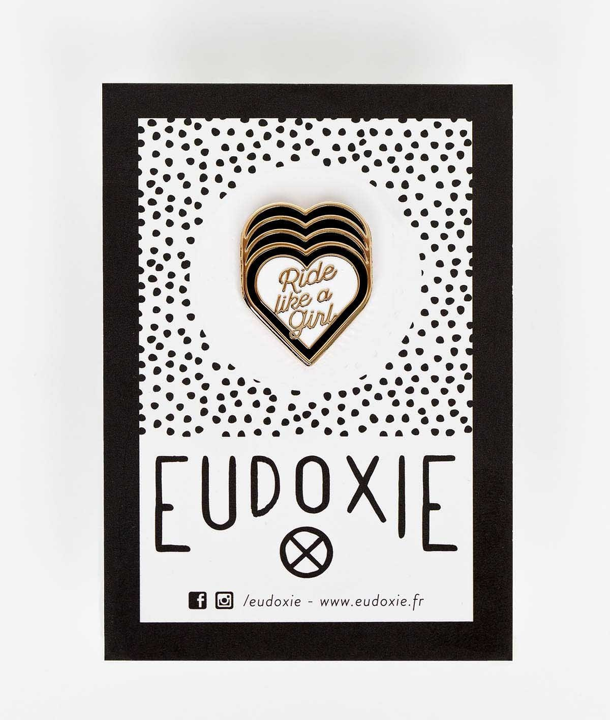 Eudoxie - Eudoxie Ride Like a Girl Black and White Pin - Accessories - Salt Flats Clothing