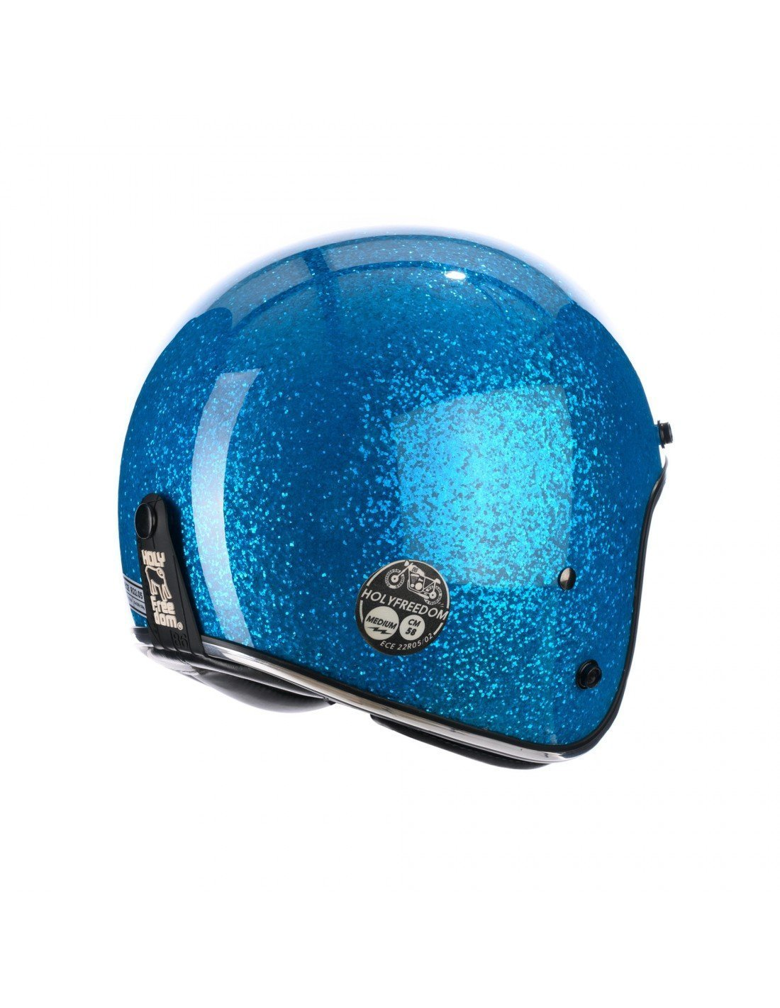 Holy Freedom - Holy Freedom Blue Glitter Open Face Jet Helmet ECE Certified - Helmets - Salt Flats Clothing