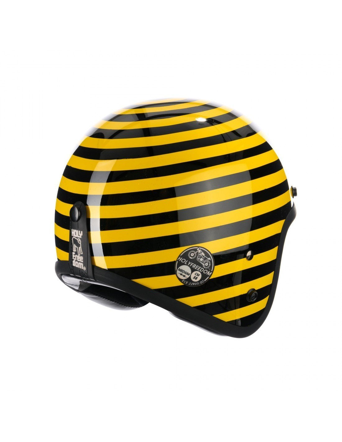 Holy Freedom - Holy Freedom Yellow Stripe Striscia Open Face Jet Helmet ECE Certified - Helmets - Salt Flats Clothing