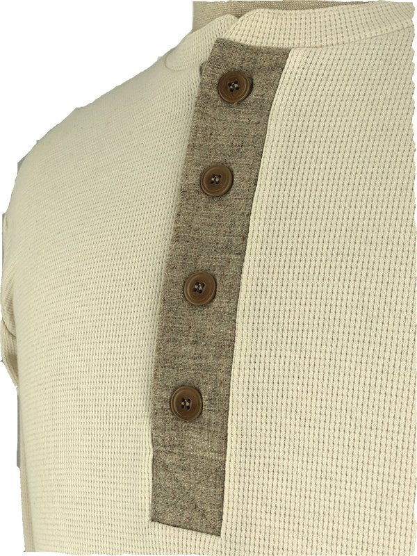 Kytone Henley Beige Long Sleeve T'Shirt - Salt Flats Clothing
