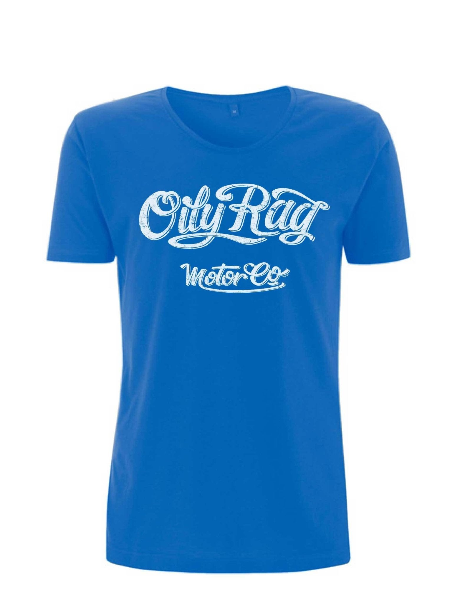 Oily Rag Clothing - Oily Rag Clothing Motor Co Ladies scoop necked T'Shirt in Blue - T-Shirts - Salt Flats Clothing