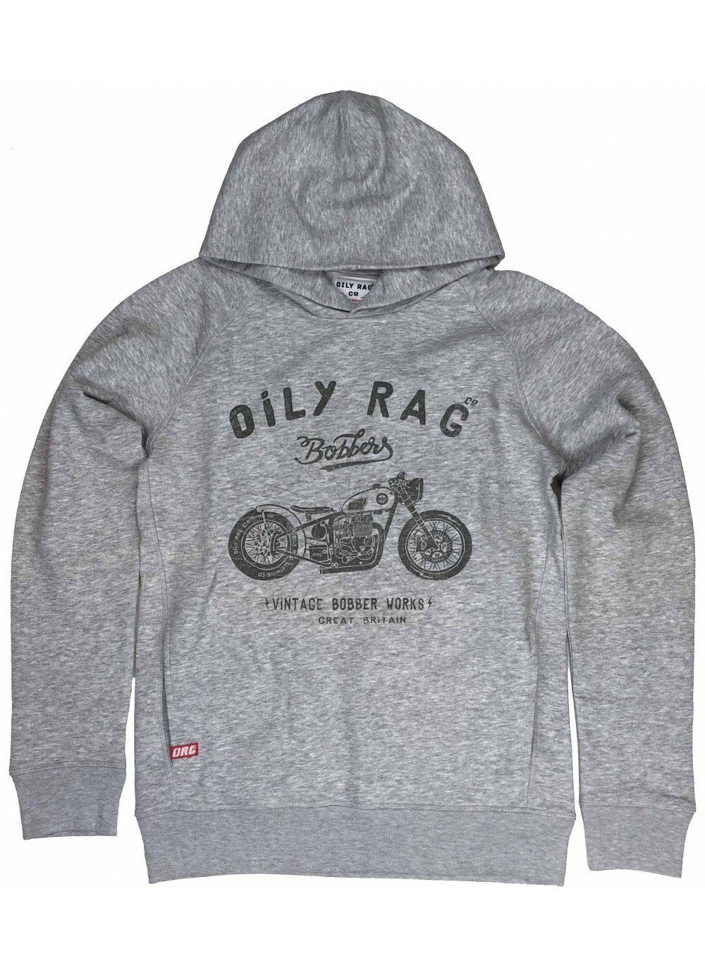 Oily Rag Clothing - Oily Rag Clothing Unisex Bobber Werke schwarz Label Hoodie - Hoodies | Sweatshirts | Wind Stoppers - Salt Flats Clothing