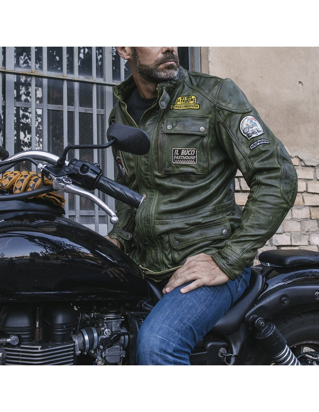 Holy Freedom Quattro Military Green Men's Leather Jacket