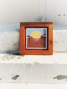 Mexican art in distressed frames