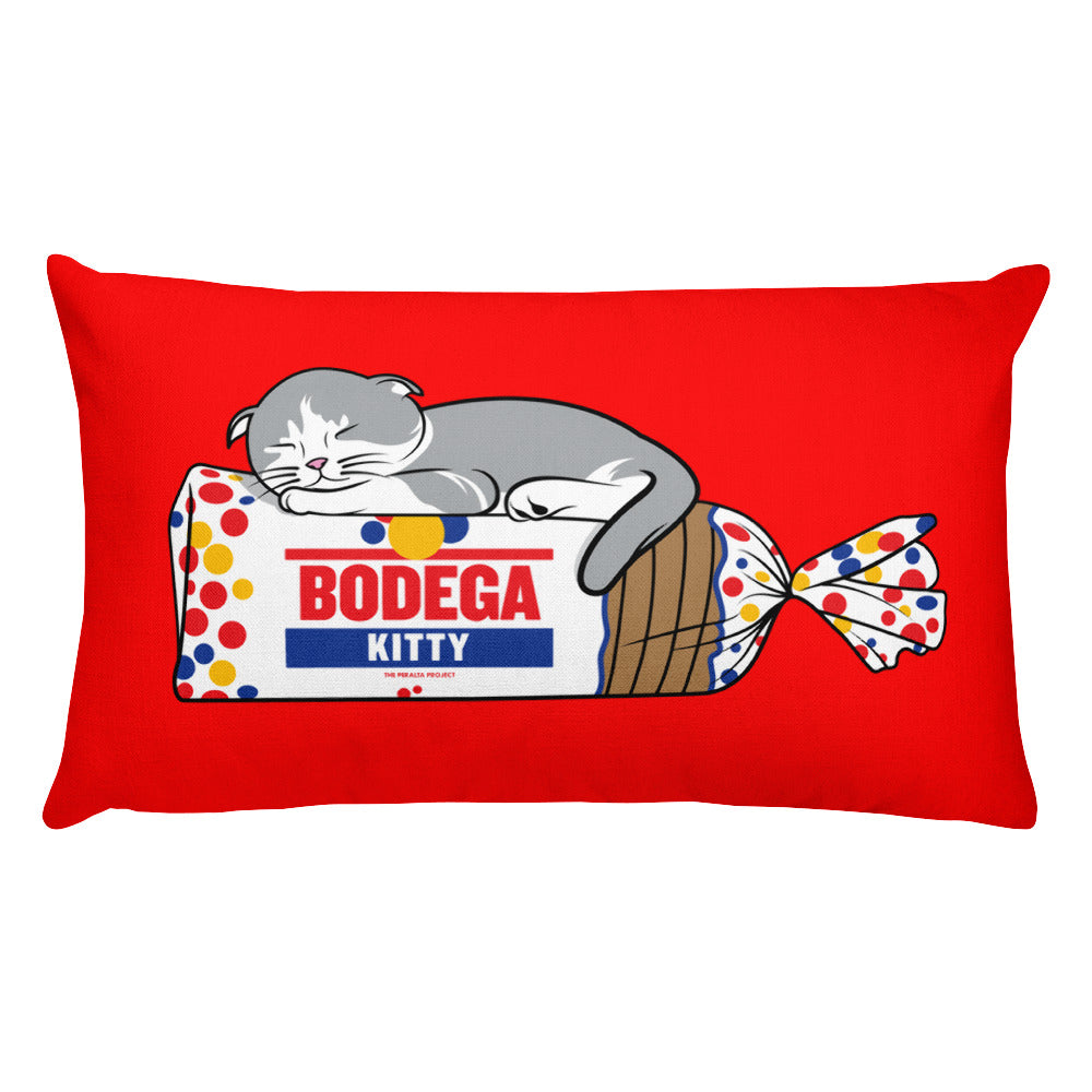 "BODEGA KITTY THROW PILLOW 20""x12"""