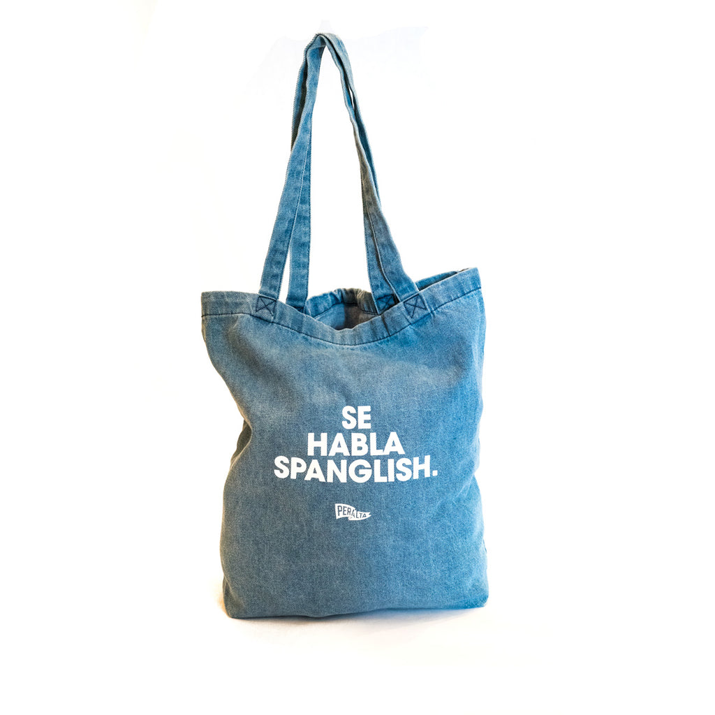 SE HABLA SPANGLISH WASHED LT. DENIM TOTE