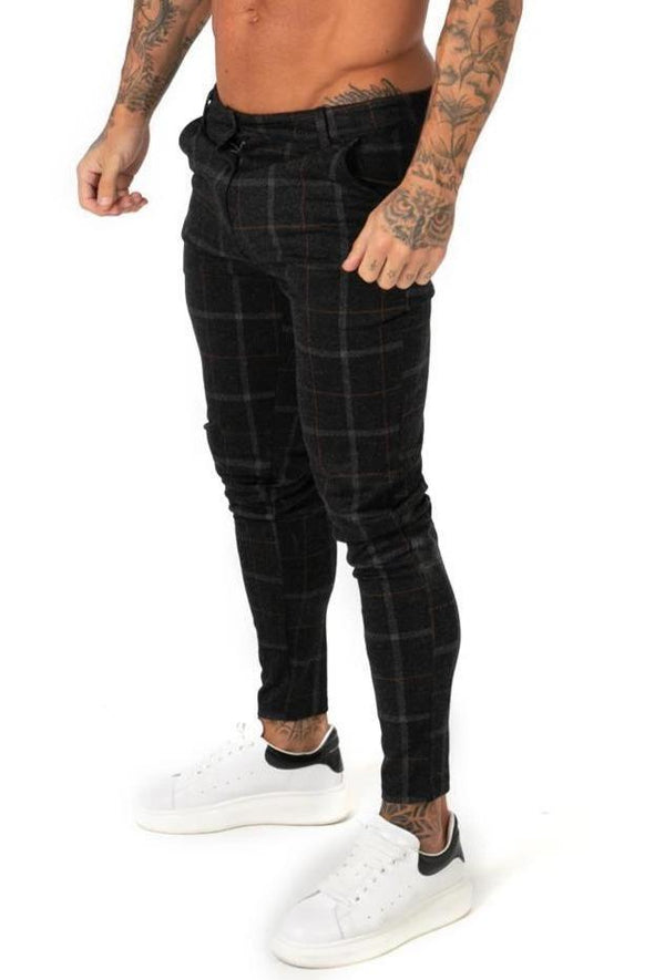 Black Plaid Stretch Chinos - ICE9