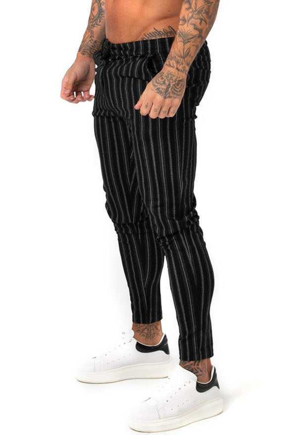 Men's Black Stripe Chinos - ICE9