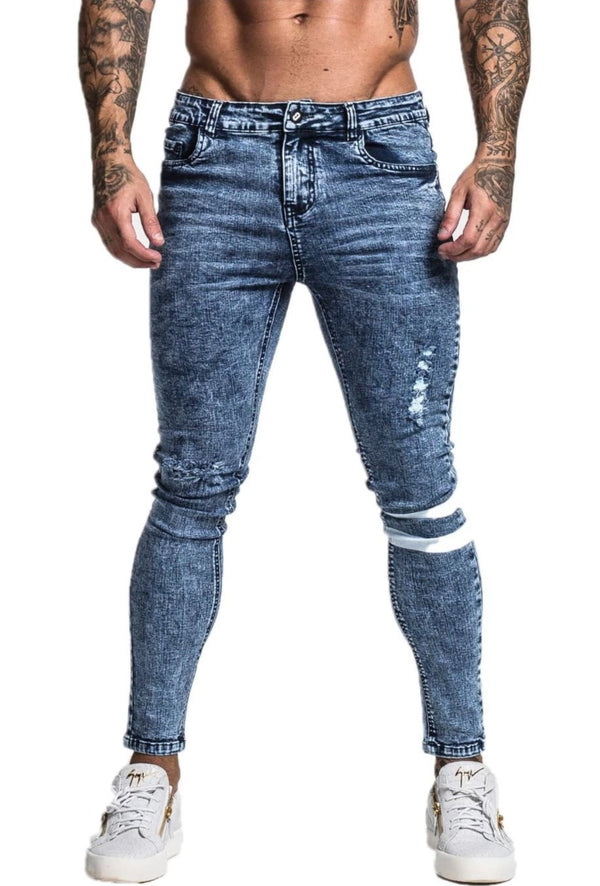 MENS BLUE RIPPED SKINNY JEANS - ICE9