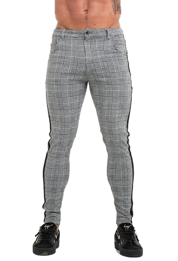 Mens Chinos Grey Plaid - ICE9