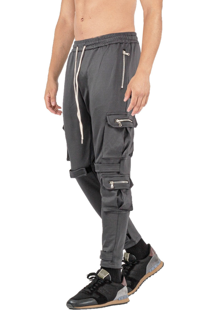 MENS DARK GREY BREATHABLE JOGGER WITH ZIPPER - ICE9