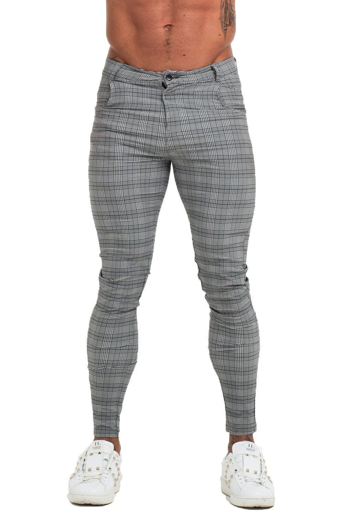 Mens Grey Plaid Trousers - ICE9
