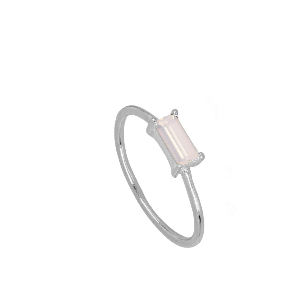 Anillo Glass Baby Pink Silver