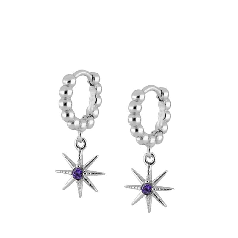 Pendientes purple Star Silver