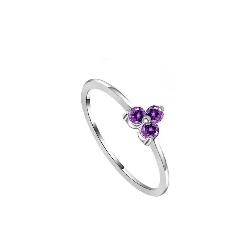 Anillo Flower Violet Silver