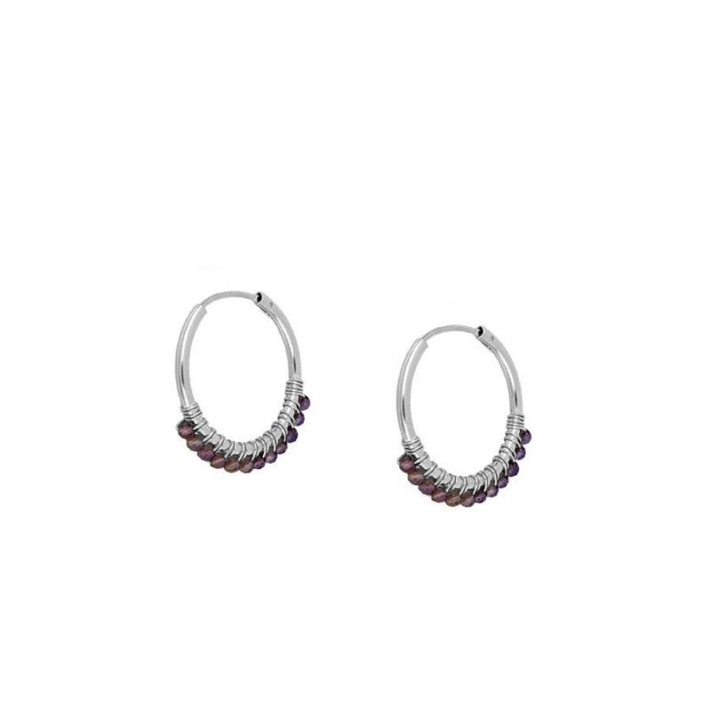 Pendientes mini hoops Amatista Silver