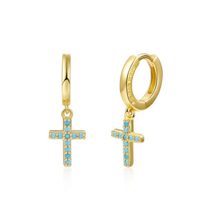 Pendientes mini crosses Turquesa