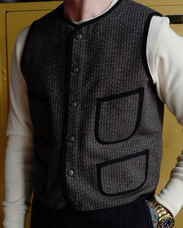 labour Union-retro clothing-1920s 'Brown Beach' Vest -Four pockets