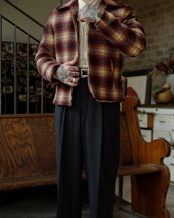 LabourUnion-handmade-clothing-american-retro-vintage-style-menswear-Burgundy-Full-Plaid-Sports-Jacket