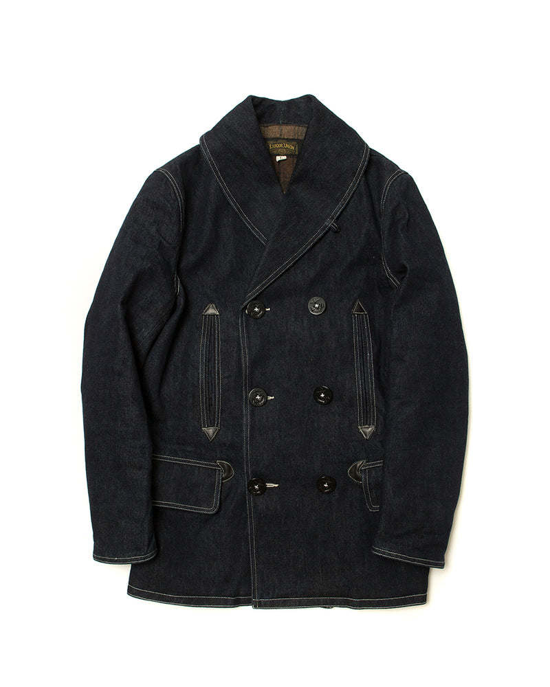 LabourUnion-handmade-clothing-american-retro-vintage-style-menswear-US-navy-1930s-Denim-Shawl-Peacoat