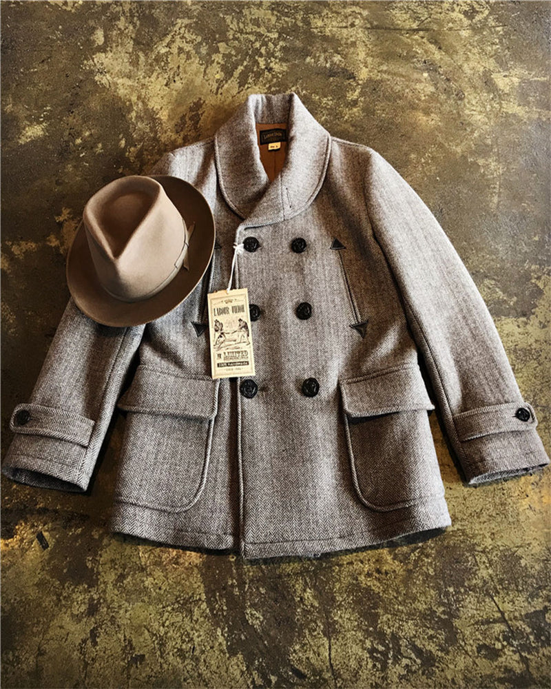 Double-Breasted Shawl Collar Peacoat