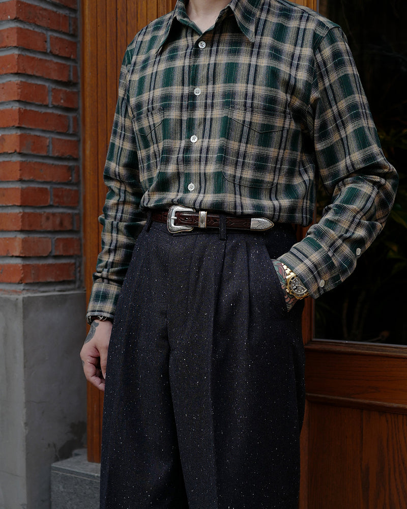 LabourUnion-handmade-clothing-american-retro-vintage-style-menswear-shirt-green-flannel-plaid-shirt-bottoms-1930s-Granite-Tweed-Suits-Trousers