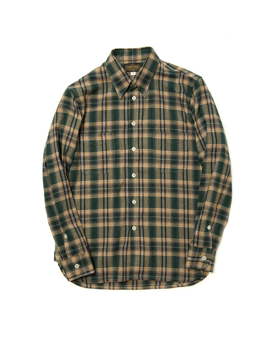 LabourUnion-handmade-clothing-american-retro-vintage-style-menswear-shirt-green-flannel-plaid-shirt
