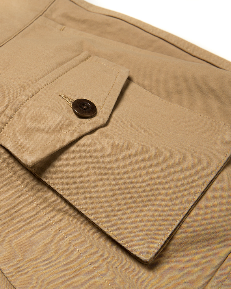 Labourunion-clothing-handemade-american-retro-vintage-style-menswear-bottom-LU160_Multi_Pockets_Khaki_Army_Shorts