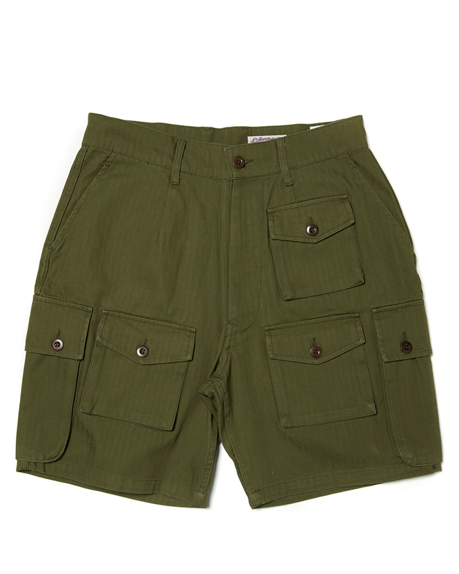 Labourunion-clothing-handemade-american-retro-vintage-style-menswear-bottom-LU160_Multi_Pockets_Green_Army_Shorts