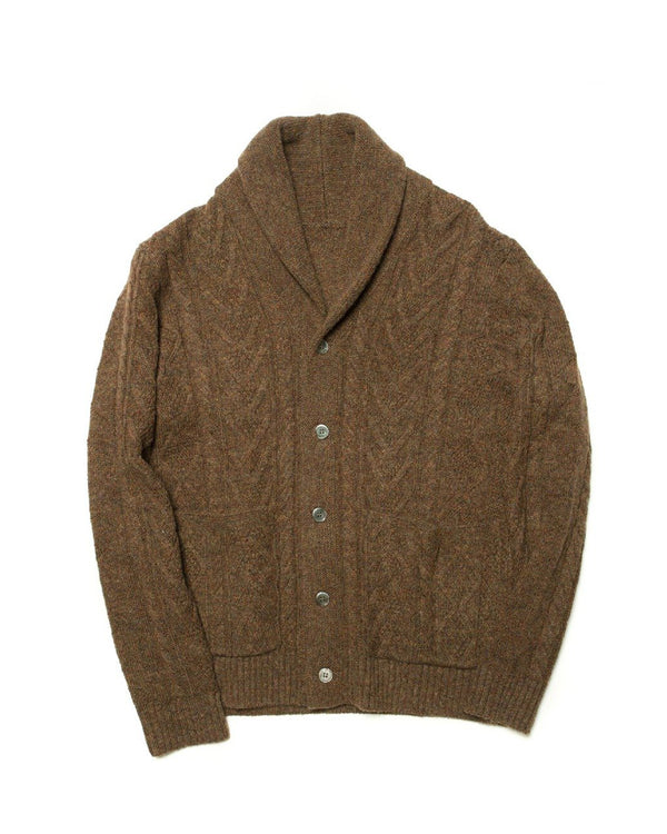 Shetland Wool Cable-knit Cardigan