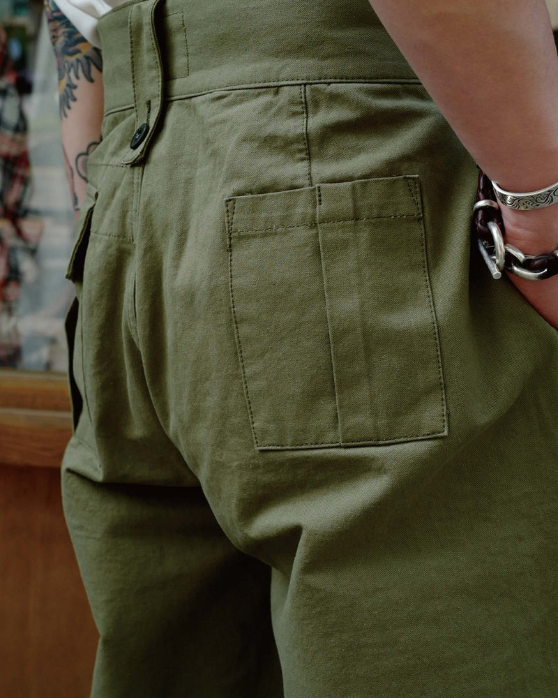 LabourUnion-clothing-american-retro-vintage-handmade-1940s-1960s-British-Army-Double-Buckle-Gurkha-Trousers-green-hip