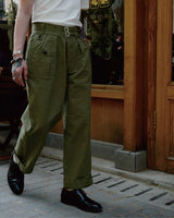 LabourUnion-clothing-american-retro-vintage-handmade-1940s-1960s-British-Army-Double-Buckle-Gurkha-Trousers-green-solid-colour-tee